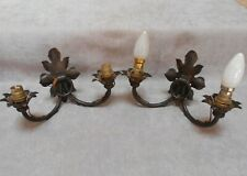 Pair of French Antique WROUGHT IRON Ornate WALL Light SCONCES