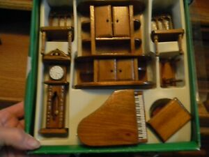 Rare Wood Doll House Furniture, piano with seat, cupboard, 2 chairs, clock