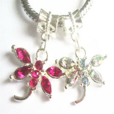 2PCS mixed European Dragonfly charm bead DIY Fit 925 Silver Necklace Bracelet