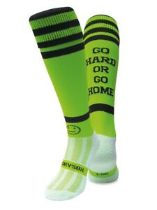 WackySox Rugby Socks, Hockey Socks - Go Hard OR Go Home Lime and Black