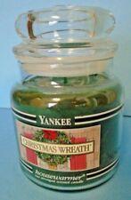 Yankee Candle Christmas Wreath 14.5 Oz. Medium Jar Candle Black Bands