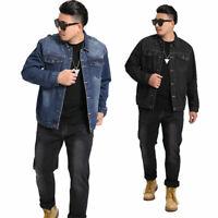 New Men's Denim Jacket Long Sleeve Jean Coat Casual Loose Outwear Fashion S-7XL