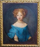 Fine Large 17th English Old Master Portrait Of A Girl Blue Dress Antique