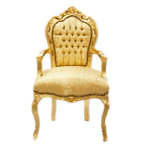 CHAIRS - FRANCE BAROQUE STYLE DINING ROYAL CHAIR WITH ARMS GOLD / GOLD #70F31