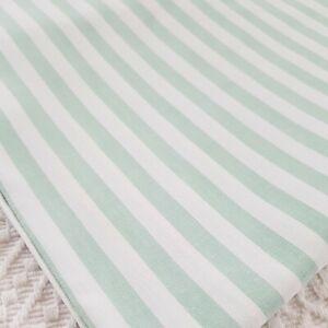 Vintage style green white stripe cotton single flat sheet 60s 70s vw camping