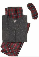 Victoria's Secret Dream Henley Dark Grey/Red Plaid Pajama Set NWT XL