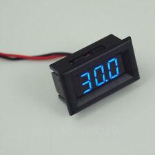 easy 2 wire hookup Digital Voltage Battery / Charge Meter - 12v 24v Dc - Blue