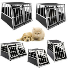 2 Size Aluminium Dog Pet Cage Transport Crate Car Travel Carrier Box Kennel UK