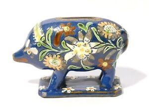 Antique Pottery Pig Money Box Piggy Bank Hand Painted Flowers Floral Pattern