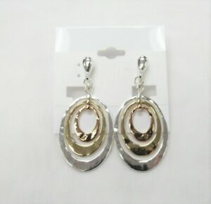 TriColor Metal Silver Gold RoseGold Dangle Drop CLIP ON Earrings Clip-on# 8457