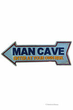 """Retro 16"""" Vintage Arrow Man Cave Enter at Your Own Risk Metal Wall Sign Plaque"""