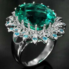 So beautiful Neon Green Colombian Emerald 925 Silver Wedding Cocktail Ring SZ:10