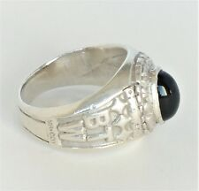 925 Sterling Silver Ring Karate Black Belt Real Onyx Class Ring Design Sz 5 1/2