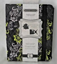 Turnstyle Folio Case Ipad 360 degree Black Lime Green Fabric Protect Quilted NEW