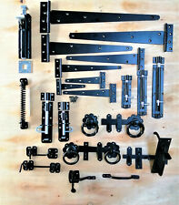 More details for garden gate accessories metal fixing latch t hinges spring closer bolt black