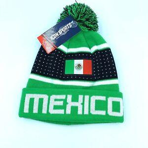 "New Unisex Icon Sports FIFA Mexico Soccer Flag ""Pegged"" Knit Cap Beanie Hat OSFM"
