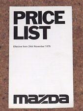 1975 Northern Ireland Mazda Dealers Price List - 929 616 818 1300 1000 B1600