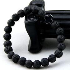 Natural Gemstone Bead Stone Cross Black Lava Howlite Bracelet for Men Women UK