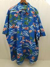 SSLR Mens Hawaiian Shirt Blue Palm Trees Flamingos Button Down Short Sleeve 4XL