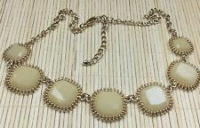 Fashion Necklace Acrylic Pale Yellow Stones Goldtone Statement Choker