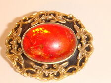 Victorian  BROOCH/Pendant  Amber Enamel and Gold