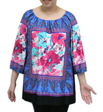 N Touch Peri / Fuchsia  Floral Peasant Tunic Top  size  Large      4834