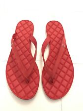 $625 CHANEL RED CALFSKIN QUILTED LEATHER THONG FLIP FLOP SANDALS 37