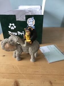 1998 Tuskers Elephant with monkey/Paw Prints Jordan & Charlie Collectible Boxed