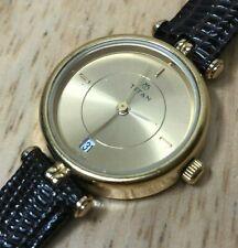 Vintage Titan India Lady Gold Tone Leather Analog Quartz Watch Hours~New Battery