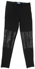 Pants Simply Vera Black Skinny Stretch With Faux Leather Panels Size 6 Clean!