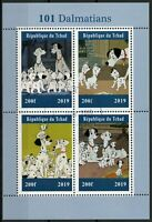 Chad 2019 CTO 101 Dalmatians 4v M/S Dogs Disney Cartoons Animation Stamps