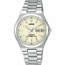Lorus Classic Round Dial Gents Watch Chrome / Black / Gold Bracelet