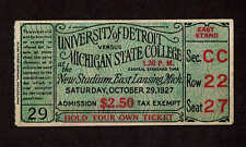 1927  UNIVERSITY OF  DETROIT vs MICHIGAN STATE  Ticket Stub