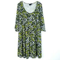 ASOS CURVE Women's size 18 Swing Dress Floral 3/4 Sleeve Gray Neon Scoop Neck