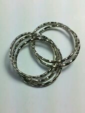 MULTI LAYERED 5 CONNECTED RINGS 6/7 SILVER TONE UNISEX SMALL PINKY FINGER RING