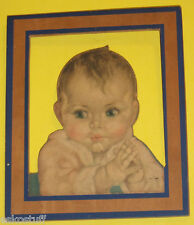 Cutout Wood Baby Plaque Early 1940s Color Print Cut Out of Wood Great Pic See!
