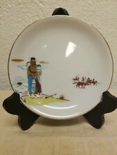 """Vintage Acee Blue Eagle Fine China Bread Plate, Pawnee 'Ruling His Sun', 6.5"""""""