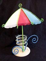 "BEACH UMBRELLA CANDLE HOLDER 9"" Metal Tea Light Glass Cup Foot Prints"