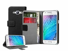 Wallet BLACK Leather Case Cover For Samsung Galaxy Duos SM-J100H, SM-J100H/DS