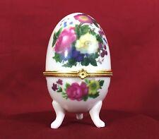 Vintage Porcelain Egg Trinket Box Colored Flowers #A46