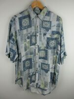 Como Vintage Mens Shirt Size L Short Sleeve Button Up Regular Fit Rayon
