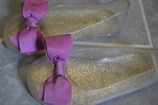 Gap Girl Shoes 11 Jelly Bow Ribbon Sandal Purple Silver Glitter Summer Swim 4 5T
