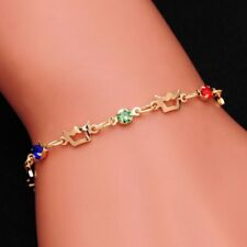Adjustable Link Chain Friendship Bracelet For Women with Multi-colour Crystals