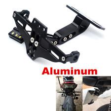 Adjustable Black LED License Plate Frame For Most Motorcycle Tag Number Bracket