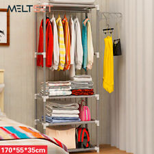 Simple Assembly Clothes Storage Rack Stainless Steel Bedroom Organizer Closet