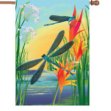 "Damselfly Pond Flower House Flag Large 40"" x 28"""