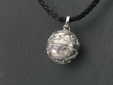 "Balinese Harmony Ball pendant genuine 925 silver 18mm ""Dotted Hearts"" with cord"