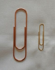 Large Paper Clip - Metallic Copper/Rose Gold Colour - Big Stationary Bling/Craft
