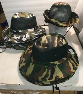 12 Camouflage Combat Hiking Tactical Boonie Sun Block Hat Cap Wholesale