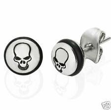 Biker Skull Face Logo Silver 316 Stainless Steel Stud Earrings